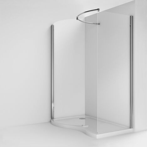 Nuie Pacific 1395mm x 906mm Curved Walk In Shower Enclosure - AQW