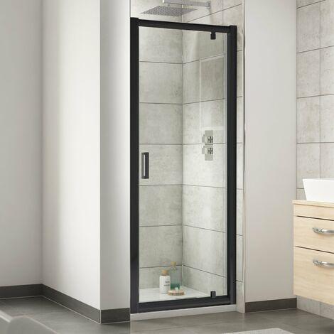 Nuie Pacific Black Profile Pivot Shower Door 760mm Wide - 6mm Glass