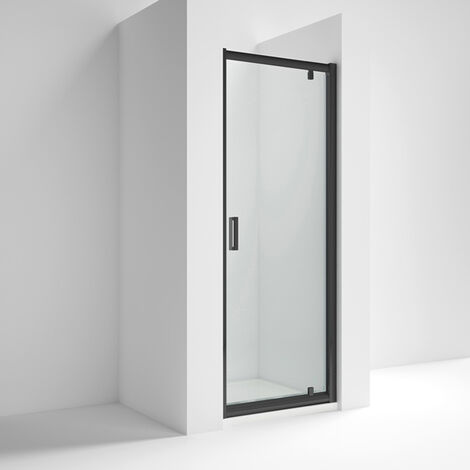 Nuie Pacific Black Profile Pivot Shower Door 800mm Wide - 6mm Glass