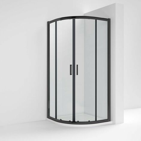Nuie Pacific Black Profile Quadrant Shower Enclosure 800mm x 800mm - 6mm Glass