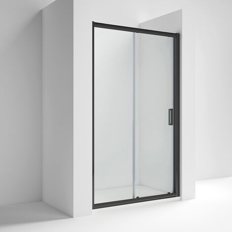 Nuie Pacific Black Profile Sliding Shower Door 1000mm Wide - 6mm Glass