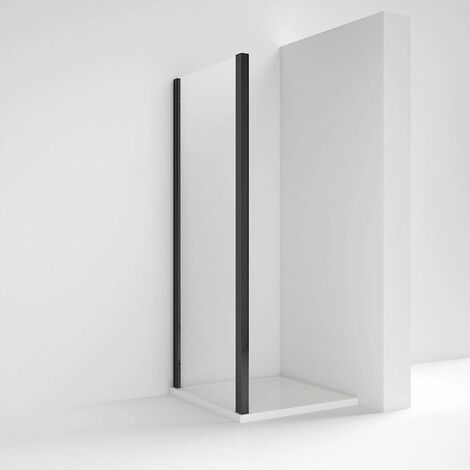 Nuie Pacific Fixed Shower Side Panel Screen 800mm Toughened Safety Glass Black