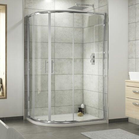 Nuie Pacific Offset Quadrant Shower Enclosure 1000mm x 800mm - 6mm Glass