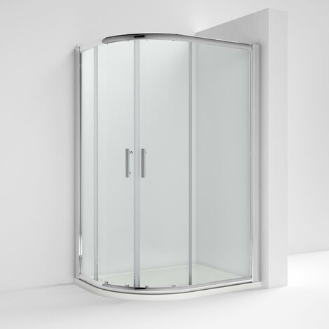 Nuie Pacific Offset Quadrant Shower Enclosure 900mm x 760mm with Shower Tray LH - 6mm Glass