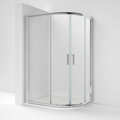Nuie Pacific Offset Quadrant Shower Enclosure 900mm x 760mm with Shower Tray RH - 6mm Glass