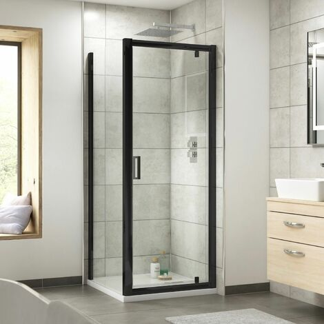 Nuie Pacific Pivot Shower Door Enclosure Screen Panel 900mm Safety Glass Black