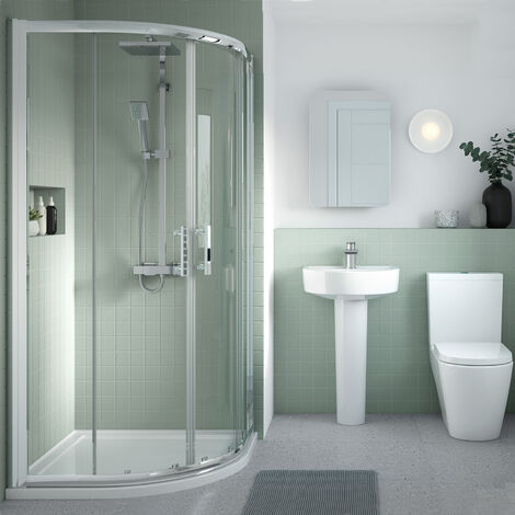 Nuie Pacific Quadrant Shower Enclosure 1000mm x 1000mm with Shower Tray - 6mm Glass