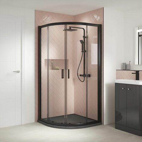 Nuie Pacific Shower Door Enclosure Screen Panel 800 Quadrant Safety Glass Black