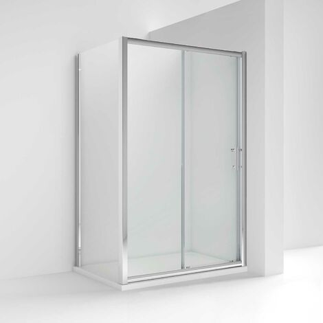 Nuie Pacific Sliding Door Shower Enclosure 1000mm x 1000mm with Shower Tray - 6mm Glass