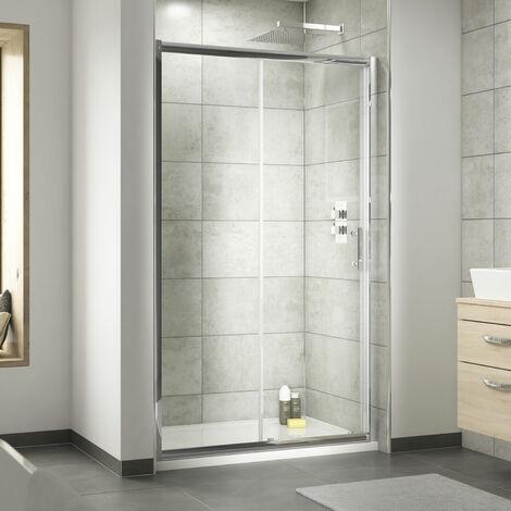 Nuie Pacific Sliding Shower Door 1200mm Wide - 6mm Glass