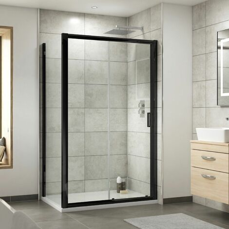 Nuie Pacific Sliding Shower Door Enclosure Screen Panel 1200 x 800mm Glass Black