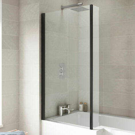 Nuie Pacific Square Bath Screen with Fixed Return Panel 1430mm H x 795mm W - Matt Black