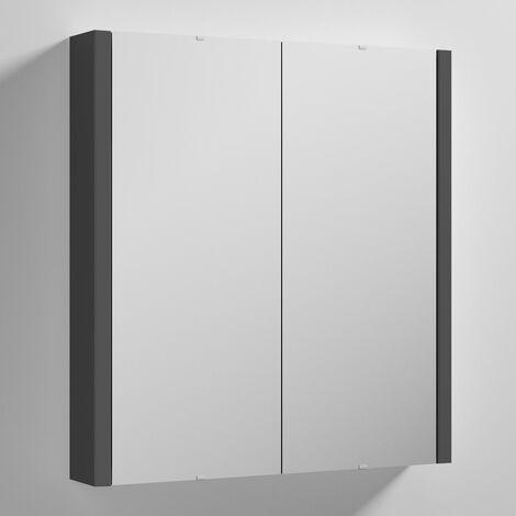 Nuie Parade 2-Door Mirrored Cabinet 600mm Wide - Gloss Grey