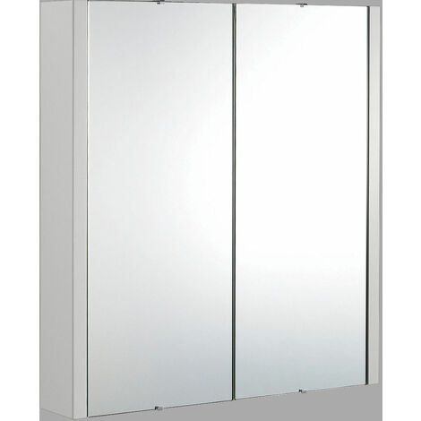Nuie Parade 2-Door Mirrored Cabinet 600mm Wide - Gloss Grey Mist