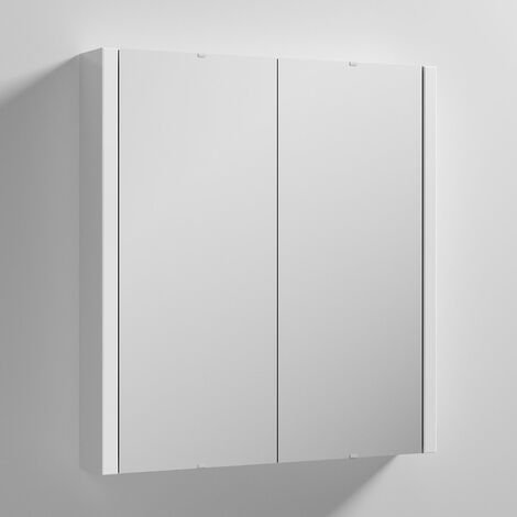 Nuie Parade 2-Door Mirrored Cabinet 600mm Wide - Gloss White