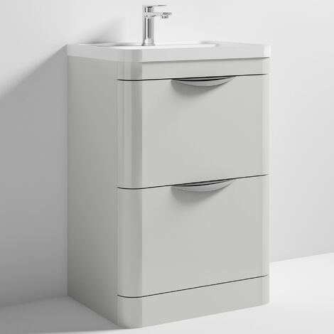 Nuie Parade Floor Standing Vanity Unit with Basin 600mm Wide Gloss Grey Mist - 1 Tap Hole