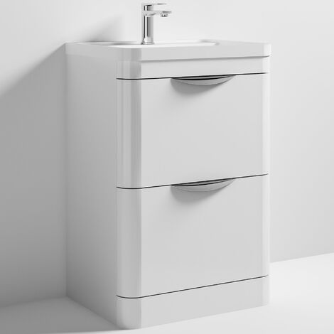 Nuie Parade Floor Standing Vanity Unit with Basin 600mm Wide Gloss White - 1 Tap Hole
