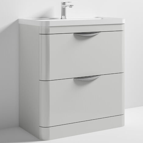 Nuie Parade Floor Standing Vanity Unit with Basin 800mm Wide Gloss Grey Mist - 1 Tap Hole