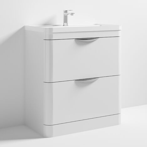 Nuie Parade Floor Standing Vanity Unit with Basin 800mm Wide Gloss White - 1 Tap Hole