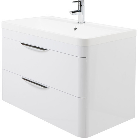 Nuie Parade Gloss White 800mm Wall Hung 2 Drawer Vanity Unit and Basin - FPA005
