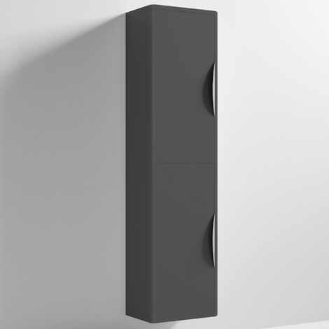 Nuie Parade Tall Wall Mounted Cupboard Unit 350mm Wide - Gloss Grey