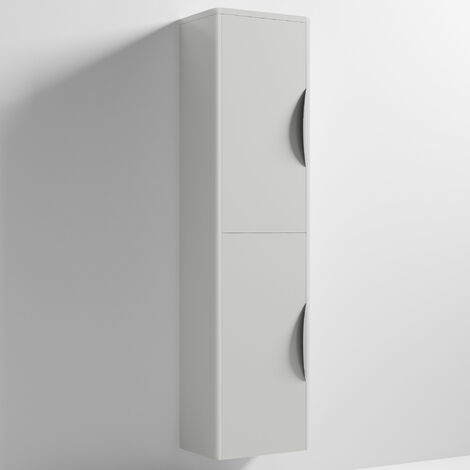 Nuie Parade Tall Wall Mounted Cupboard Unit 350mm Wide - Gloss Grey Mist