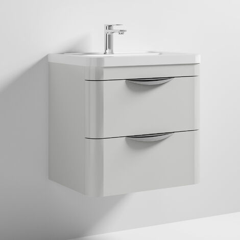 Nuie Parade Wall Hung 2-Drawer Vanity Unit with Ceramic Basin 600mm Wide - Gloss Grey Mist