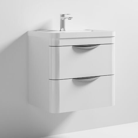 Nuie Parade Wall Hung 2-Drawer Vanity Unit with Ceramic Basin 600mm Wide - White Gloss
