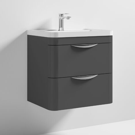 Nuie Parade Wall Hung 2-Drawer Vanity Unit with Polymarble Basin 600mm Wide - Gloss Grey