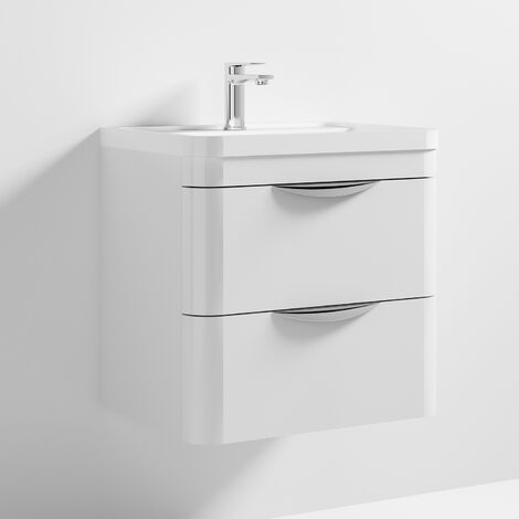 Nuie Parade Wall Hung Vanity Unit with Basin 600mm Wide Gloss White - 1 Tap Hole