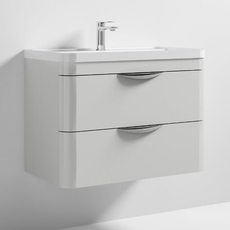 Nuie Parade Wall Hung Vanity Unit with Basin 800mm Wide Gloss Grey Mist - 1 Tap Hole