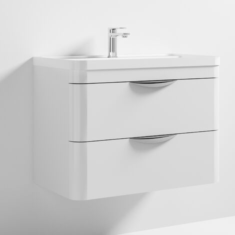 Nuie Parade Wall Hung Vanity Unit with Basin 800mm Wide Gloss White - 1 Tap Hole