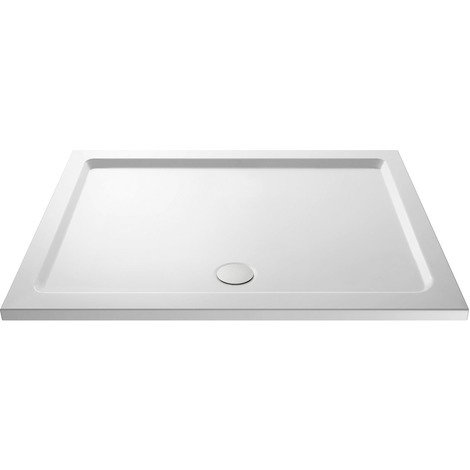 Nuie Pearlstone 1800mm x 800mm Rectangular Shower Tray with Centre Edge Waste - NTP073