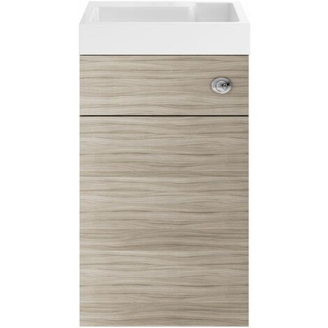 Nuie PRC245CB Athena   Modern Cloakroom Bathroom 2 In 1 Combrination WC And Vanity Unit , 500mm x 890mm, Driftwood