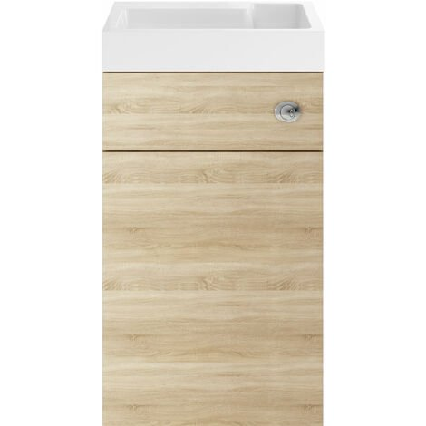 Nuie PRC345CB Athena   Modern Cloakroom Bathroom 2 In 1 Combrination WC And Vanity Unit , 500mm x 890mm, Natural Oak