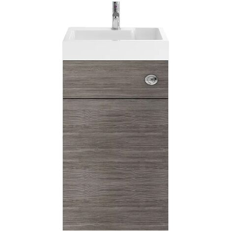 Nuie PRC545CB Athena   Modern Cloakroom Bathroom 2 In 1 Combrination WC And Vanity Unit , 500mm x 890mm, Brown Grey Avola