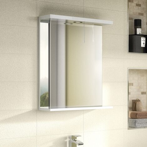 Nuie Premier Mayford Gloss White 550mm Mirror With Light Canopy