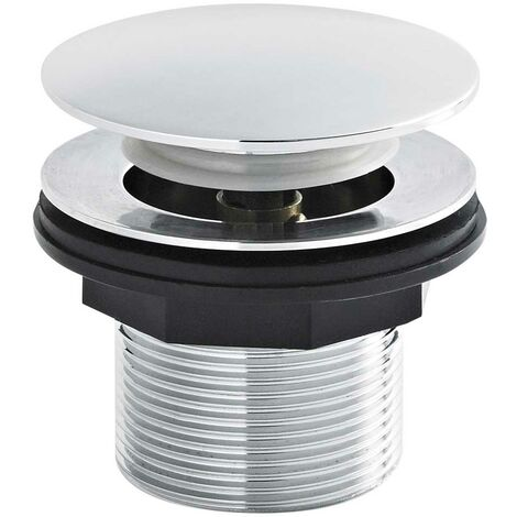 Nuie Push Button Bath Waste, Excluding Overflow, Chrome