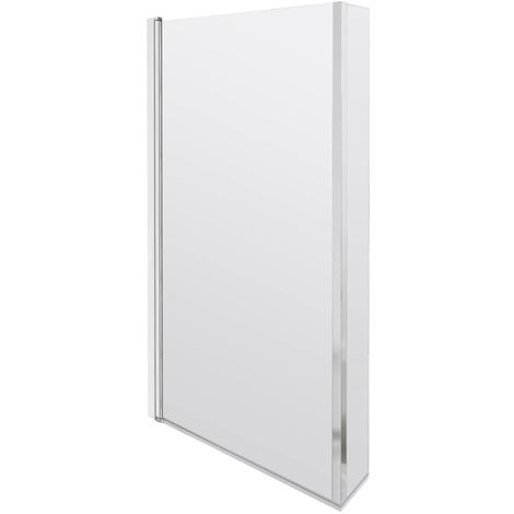 Nuie Quattro 808mm Square Hinged Shower Bath Screen - NSBS7