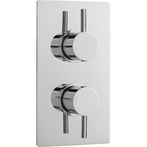 Nuie Quest Rectangular Concealed Shower Valve Dual Handle - Chrome