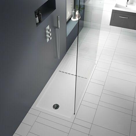 "main image of ""Nuie Rectangular Walk-In Shower Tray 1400mm x 800mm - White"""