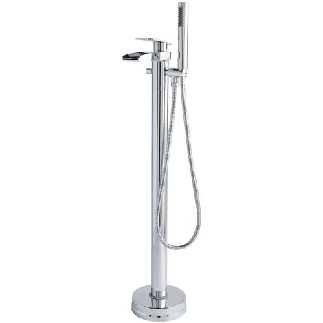 Nuie Rhyme Bath Shower Mixer Tap, Floor Standing, Chrome