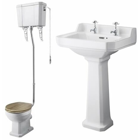 Nuie Richmond Traditional Bathroom Suite High Level Toilet 500mm Basin