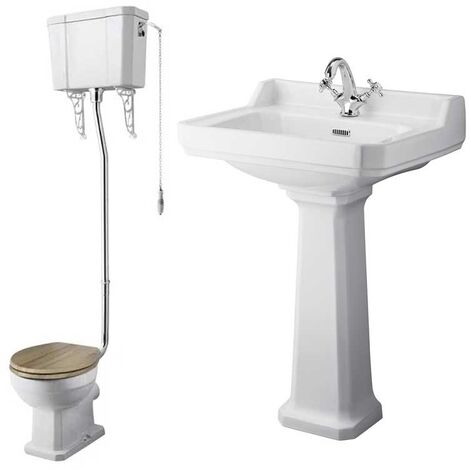 Nuie Richmond Traditional Bathroom Suite High Level Toilet 595mm Basin - 1 Tap Hole