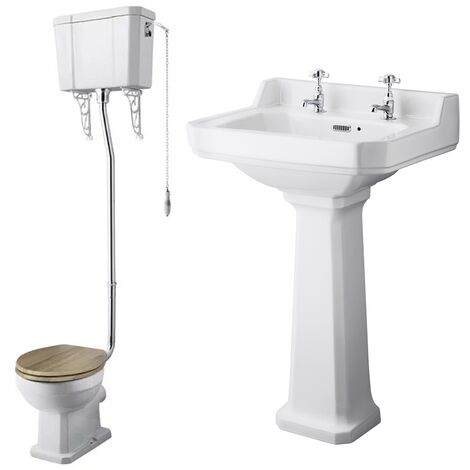 Nuie Richmond Traditional Bathroom Suite High Level Toilet 595mm Basin - 2 Tap Hole