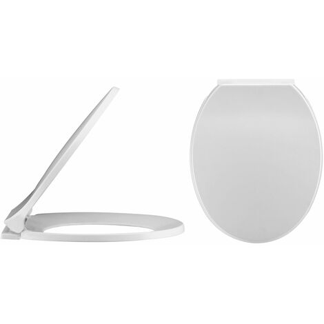"""main image of """"Nuie Round Thermoplastic Toilet Seat, Soft Close Hinges, White"""""""