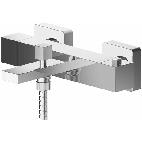 Nuie Sanford Wall Mounted Thermostatic Bath Shower Mixer Tap - Chrome