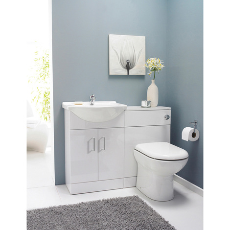 Nuie Saturn Gloss White Cloakroom Furniture Pack and Round Basin with 1 Tap Hole - SAT001