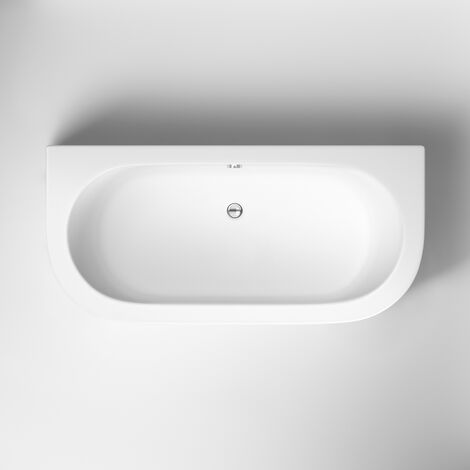 Nuie Shingle Double Ended Back to Wall Bath with Panel 1700mm x 750mm - White