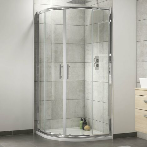 Nuie Shower Enclosure Pack 800mm Quadrant Twin Shower and Fixed Head
